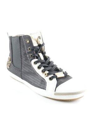 Replay Chaussures à lacets noir-blanc style décontracté
