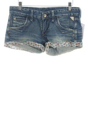Replay Shorts azul acero estampado floral look lavado