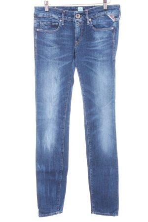 Replay Skinny Jeans blassblau-dunkelblau Washed-Optik