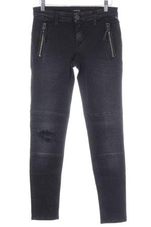 Replay Skinny Jeans dunkelgrau Destroy-Optik