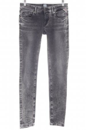 Replay Skinny Jeans dunkelgrau Farbverlauf Destroy-Optik