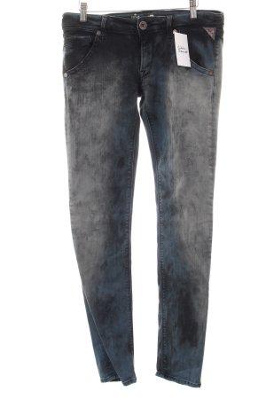Replay Skinny Jeans grau-hellgrau Farbtupfermuster Destroy-Optik