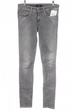 Replay Skinny Jeans grau-hellgrau grafisches Muster Casual-Look