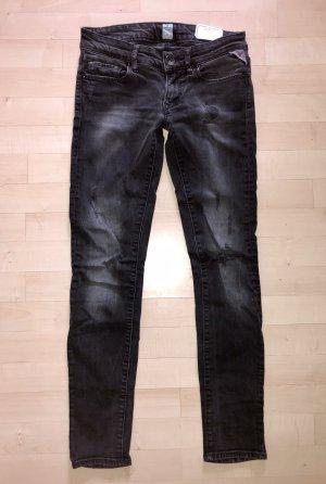 Replay Skinny Jeans Rose 25 / 30 schwarz destroyed Slim Low Top Hose