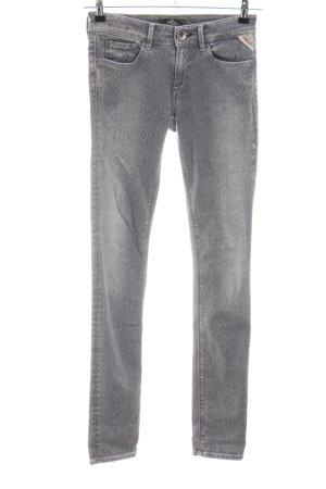 Replay Slim Jeans hellgrau Allover-Druck Casual-Look