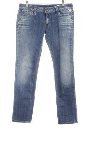 Replay Jeans slim fit blu motivo batik lavaggio acido