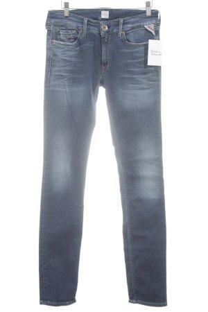 Replay Slim Jeans blau Street-Fashion-Look