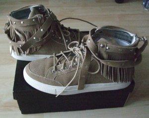 Replay Sneaker  Hi-Top Leder beige mit Fransen - Gr. 39 - Top!