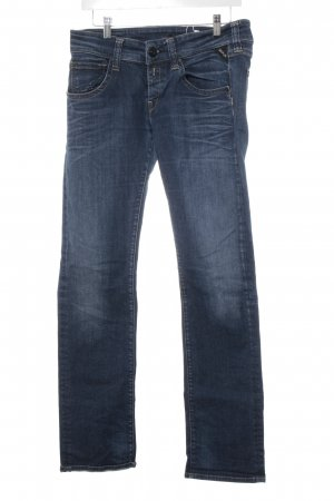 Replay Straight-Leg Jeans dunkelblau Street-Fashion-Look
