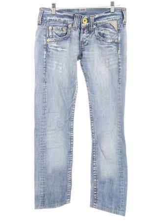 Replay Straight-Leg Jeans himmelblau Schriftzug gestickt Destroy-Optik
