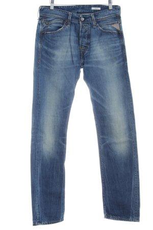 Replay Jeans coupe-droite bleu acier style déchiré