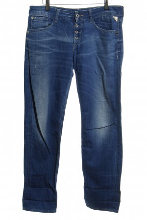 Replay Straight Leg Jeans steel blue flecked casual look