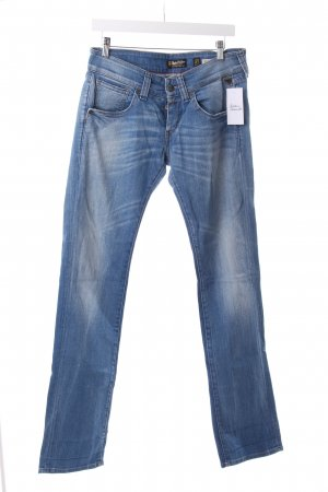 Replay Straight-Leg Jeans stahlblau-wollweiß Washed-Optik