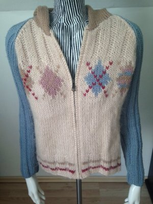 Replay Strickjacke, Rautenmuster, farbige Applikationen, Gr. S