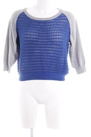 Replay Strickpullover blau-silberfarben Webmuster Casual-Look