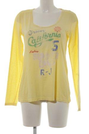 Replay Suéter amarillo pálido estampado temático look casual