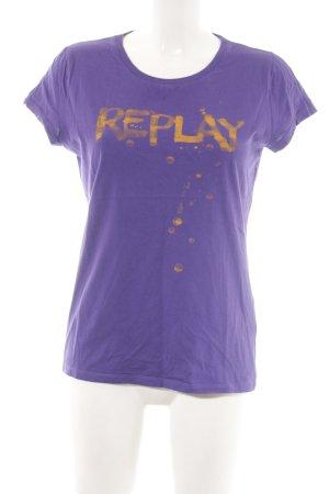 Replay T-Shirt lila-hellorange Schriftzug gedruckt Casual-Look