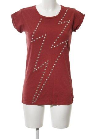 Replay T-Shirt rot abstraktes Muster Casual-Look