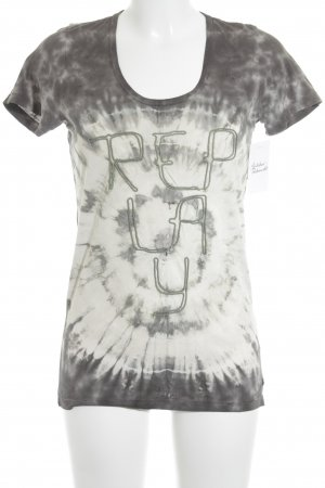 Replay T-Shirt grau-wollweiß Batikmuster Casual-Look