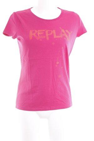 Replay T-Shirt magenta Schriftzug gedruckt Casual-Look