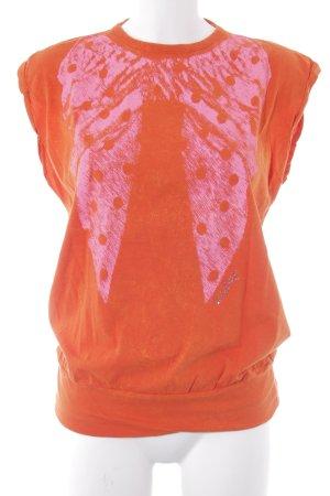 Replay T-Shirt neonorange-neonpink Motivdruck Casual-Look