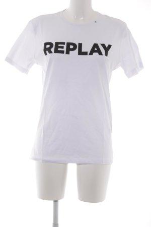 Replay Camiseta blanco letras impresas look casual