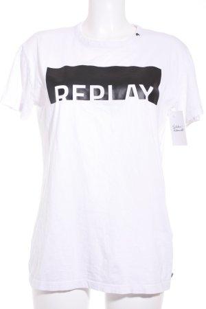 Replay T-Shirt weiß-schwarz Motivdruck