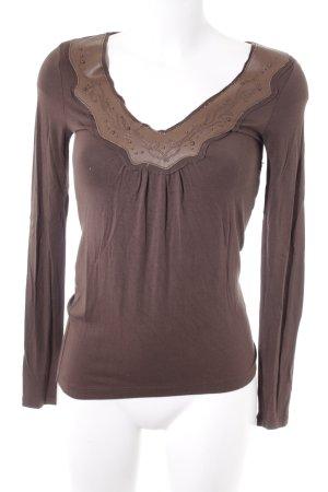 Replay V-Ausschnitt-Shirt braun Casual-Look