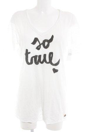 Replay V-Ausschnitt-Shirt Schriftzug gedruckt Casual-Look