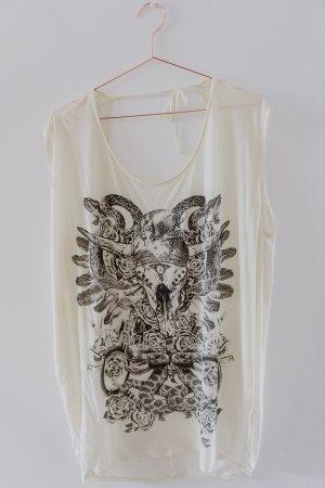 Replay - Weites Top/Kleid - offwhite - mit großem Print & Rückenausschnitt