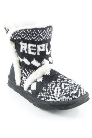 Replay Winterstiefel schwarz-weiß abstraktes Muster Casual-Look