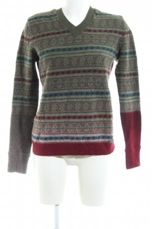 Replay Wollpullover hellgrau-rot grafisches Muster Casual-Look