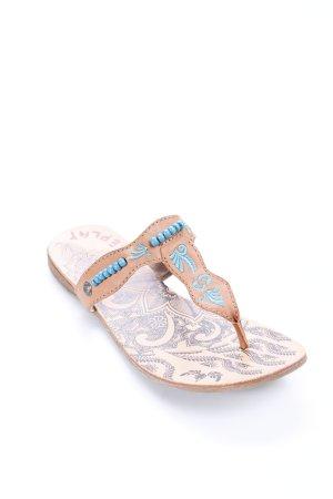 Replay Zehentrenner-Sandalen beige abstraktes Muster Hippie-Look