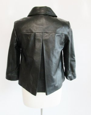 Repro Echt Leder Jacke MORE&MORE Größe S 36 Schwarz Cape Kurzjacke Hepburn A Linie Umhang Kellerfalte