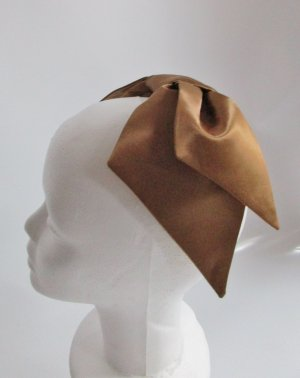 Repro Half Hat Große Schleife Headpiece Fascinator Braun Kupferfarben Glanz Satin Marvelous Hut 40er 50er Rockabilly