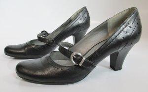 Repro Schnallenpumps Größe 38 Schwarz Budapester Spitz Riemchen Schuhe Tamaris Pumps Rockabilly