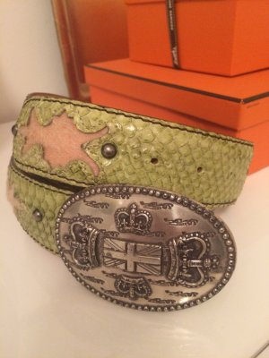 Reptile's House Belt silver-colored-lime yellow