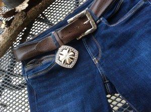 Reptile's House Cintura di pelle argento-marrone scuro