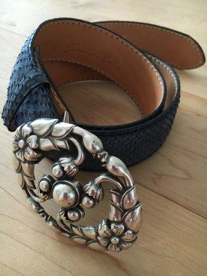 Reptile's House Gürtel aus blaugefärbten Pythonleder