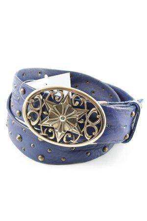Reptile's House Leather Belt dark blue extravagant style