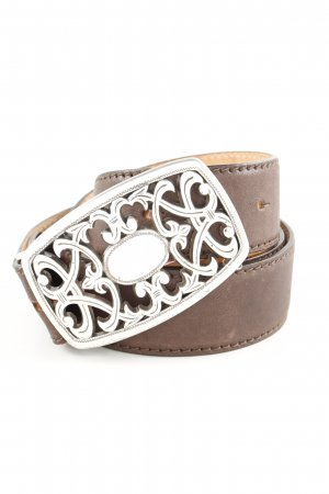 Reptile's House Leather Belt brown-silver-colored casual look