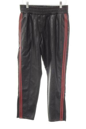 Reserved 7/8-broek zwart-baksteenrood rockabilly stijl