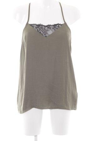 Reserved ärmellose Bluse khaki-schwarz Elegant