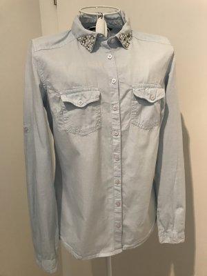 Reserved Bluse mit Perlenkragen, S, hellblau
