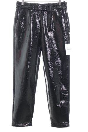 Reserved Hoge taille broek zwart leren uitstraling