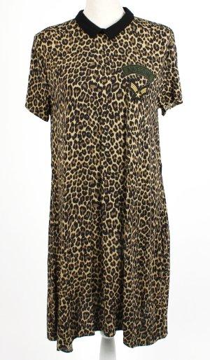 * reserved * Kleid L 40 Leo Animal Army schwarz beige khaki