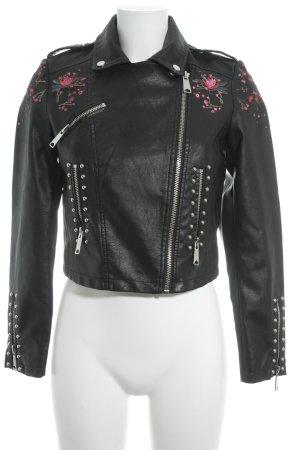 Reserved Kunstlederjacke schwarz-rosa Blumenmuster Lack-Optik