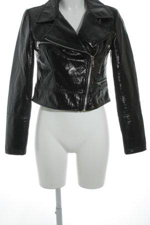 Reserved Kunstlederjacke schwarz-silberfarben Lack-Optik