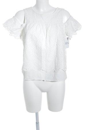 Reserved Kurzarm-Bluse wollweiß Romantik-Look