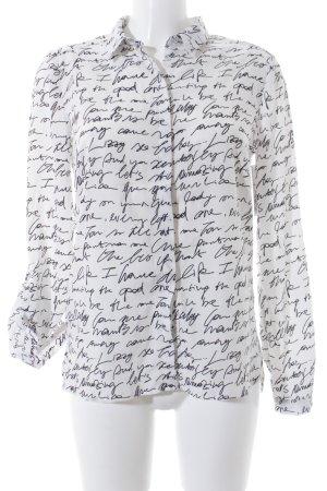 Reserved Langarm-Bluse weiß-schwarz Allover-Druck klassischer Stil